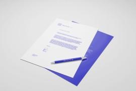 紫色商务信纸模板设计 - A001